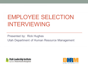 Employee Selection Interviewing