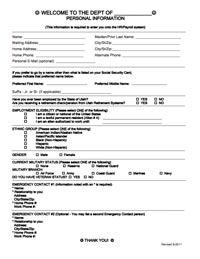 Personal Information Sheet For New Hires · Personal Information Form  Thumbnail Image  Employee Information Form Sample